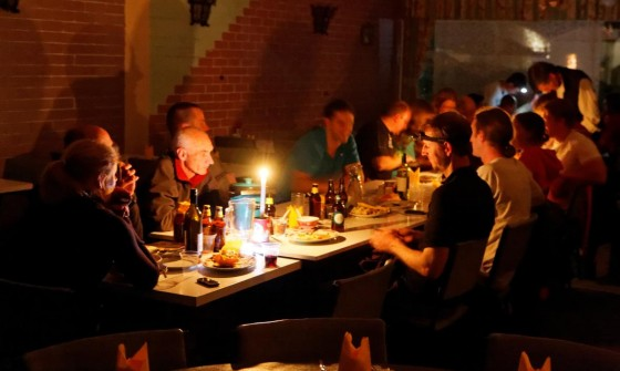 Dinner by candle-light and head-torch light.